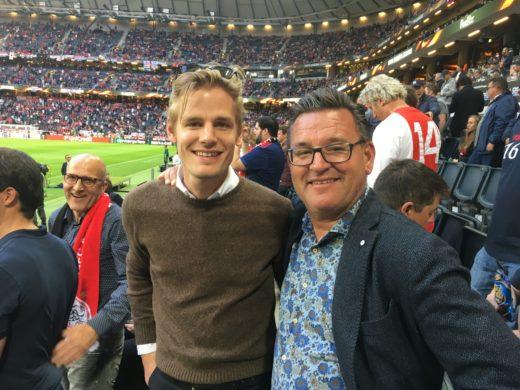 Jag och sonen Markus på Fiends Arena i onsdags på Europa-League finalen mellan Manchester United - Ajax