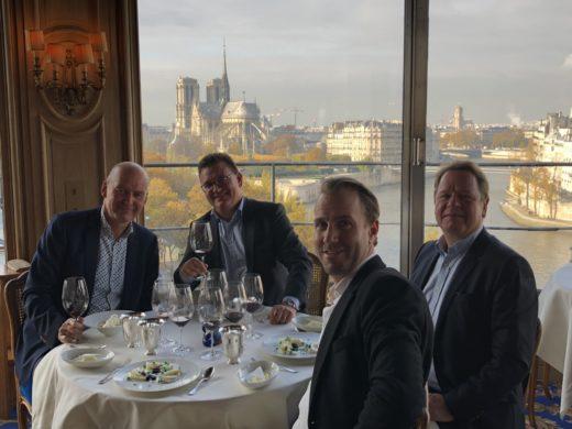 Lunch på Restaurant La Tour d´Argent i Paris med Magnus, Staffan och Gustav