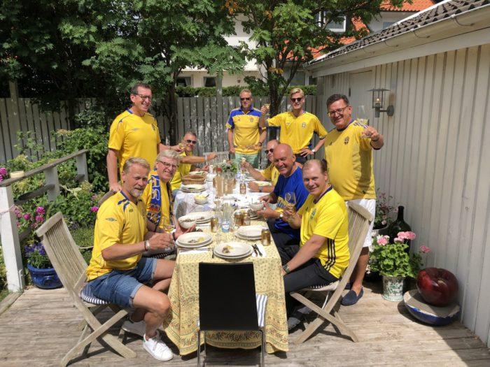 VM-studio hemma hos mig med Uffe, Jarl, Bosse, Clas, Pelle, Markus, Bengt, Magnus och Tobbe